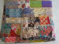 Indian Vintage Kantha Quilt Handmade Patchwork Cotton Bedspread Bedding Blanket