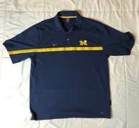 Michigan Wolverines Nike Team Mens Polo Shirt Blue Yellow Short Sleeve Sport L