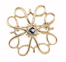 10k Rose Gold Filigree Lapel Coat Pin Brooch w Round Blue Sapphire Gemstone