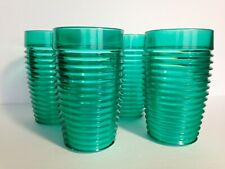 Set of 4 Large Green Plastic Glasses 80's Ridged Vintage 5.5 inches high