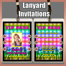 Personalised LANYARD Photo Invitation DISCO Theme Birthday Party boys girls