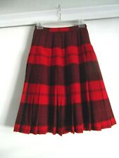 """PENDELTON WOOL PLEATED TURNABOUT SKIRT - RED AND NAVY BLUE~26 1/2"""" WAIST"""