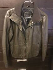 Mens Large Zara Green Faux Leather Bomber Jacket Was $149