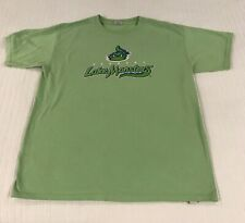 Lime Green Vintage Vermont Lake Monsters T Shirt Youth XL Minor Baseball
