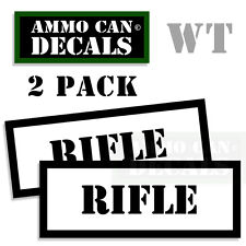 RIFLE Ammo Decal Sticker bullet ARMY Gun safety Can Box Hunting Labels 2 pack WT