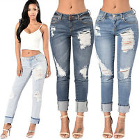 Women Ladies Stretchy Ripped Skinny Jeans Casual Slim Fit Trousers Denim Pants