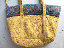 Quilted Shoulder Bag Purse 100% Cotton Fabric Large Yellow Blue Zip Womens Hobo