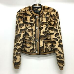 UNUSED DOLCE&GABBANA F28JLZ Leopard Faux fur Blouson Jacket Brown