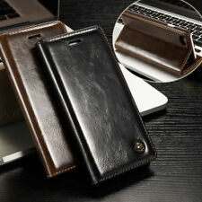 Genuine Real Leather Card Holder Phone Case Flip Stand Wallet Protective Cover