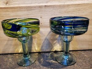 Mexico Mexican Margarita 2 Glasses Blue, Green Swirl Hand Blown Glass Approx 6""