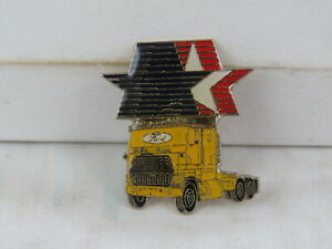 1984 Summer Olympic Games Sponsor Pin - Ford Yellow Semi Truck - Celluloid Pin