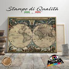 QUADRO MAPPA MONDO WORLD MAP vintage STAMPA TELA CANVAS continenti mare viaggio