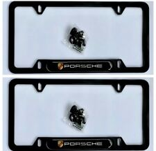 (Set Of 2) License Plate Frame Porsche Plate Frame Black Aluminum