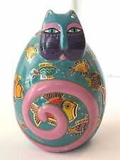 ❤️Laurel Burch ~ Cat Ceramic Egg Fishy Feline ~ Handpainted Figurine Numbered❤️