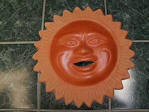 VINTAGE ARTISAN CRAFTED CLAY/TERRA COTTA POTTERY SMILING SUN BURST WALL DECOR