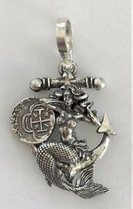 ATOCHA Coin Mermaid Anchor Pendant 925 Silver Sunken Treasure Shipwreck Jewelry