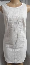 """""""ANN TAYLOR"""" WHITE EYELET CAREER CASUAL COCKTAIL SUMMER SHIFT DRESS SIZE: L NWT"""