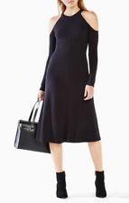 BNWT BCBG MAX AZRIA INES BLACK RIBBED COLD SHOULDER DRESS SIZE  UK 6 RRP £287