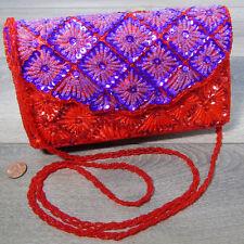 Red Hat BEAD PURSE Purple Micro Beads Sequins Snap Flap Crossbody Clutch Handbag