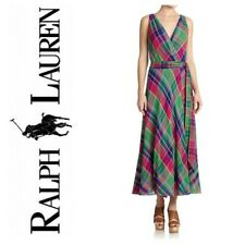 POLO RALPH LAUREN Women's New Maxi Plaid Sleeveless Wrap Summer Dress