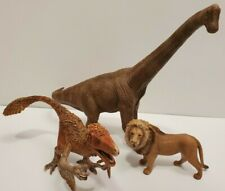 Schleich Lot Of 3 Brachiosaurus 2011 Utahraptor 2017 Lion 2007 Dinosaur Animal