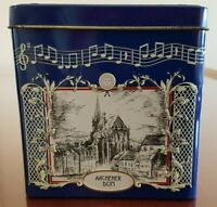 Small Rectangular German Lambertz Aachen Cathedral Musical Cookie Tin - WORKING