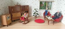 Wichtelmarke Wohnzimmer Schrank Tisch Sessel Möbel Holz Puppenstube 60er Jahre