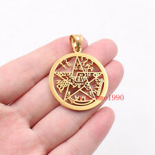 Gold Tone Large pentagram symbol of Wicca paganism stainless steel Pendant