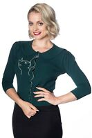 Dark Green Retro Kitty Cat Rockabilly Peter Pan Collar Cardigan Banned Apparel