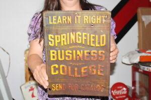 "Vintage c.1900 Springfield Business College Gas Oil 14"" Embossed Metal Sign"