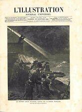 Marins Canon Hotchkiss Marine Française Tirs Torpilleur France GRAVURE 1882