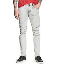 G By Guess Men's Moto Modern Pastel Skinny Jeans Light Grey Acid Wash Size 33
