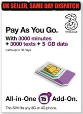 Three UK All in One 15 PAYG Trio SIM Card 3000 Minutes + 3000 Texts  + 5GB Data