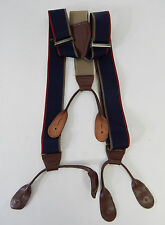Men's Navy Blue Red/Tan Adjustable Suspenders Leather Fittings, Hipster Belt
