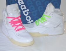 New w/Box Reebok Twilight Zone The Pump White/Pure Silver Retro Neon Laces 9.5