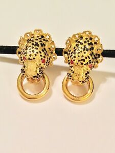 Franklin Mint Duchess of Windsor 22 Karat Gold Coated Panther Cat Ruby Earrings