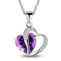 925 Sterling Argent Femme Diamant en Bleu/Violet Coeur Collier Pendentif Chaîne