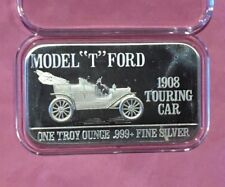 "Model ""T"" Ford 1908 Touring Car Mark IV Bar 1 Troy Oz .999 Fine Silver Ingot USA"
