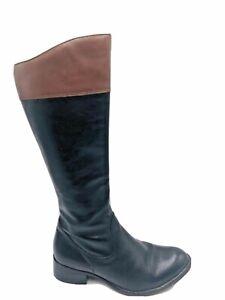 Kumfs Ziera Sz 37 XW Black Riding Style Leather Boots Brown Trim Block Heel
