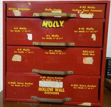 Vtg Molly Wall Anchors 4-Drawer Metal POS Store Cabinet, Storage Garage Man-Cave