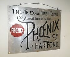 VINTAGE ANTIQUE PHOENIX of HARTFORD METAL SIGN RARE ORIGINAL