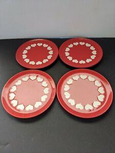 "Waechtersbach Red & White Big Hearts Valentine's 7.75"" Salad Plate lot of 4"