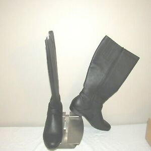 Silhouettes Leather Zip Side Strap Boot Black 9WW NWB