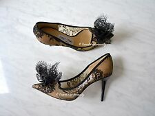 Jimmy Choo Duchess Black Lace Bow Pointy toe Pumps heels Size 34 *NEW