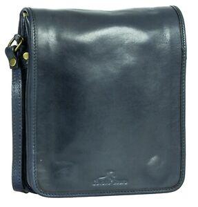Mens Genuine Italian Leather Cross Body Briefcase Shoulder Messenger Postman Bag