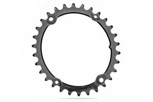 Absolute Black Road Oval Sub-Compact Chainring (110 BCD) 4 Bolt 30T Black