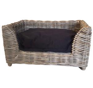 Grey Wicker Rattan Pet Bed Basket Cat Kitten Dog Puppy Sleep Nest Cushion