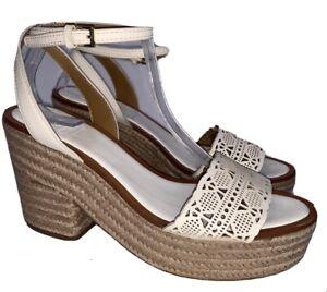 Tory Burch Size 10 White Box Roselle Leather Platform Espadrille Sandals Hippie