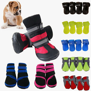 4Pcs Anti-Slip Pet Boots Dog Waterproof Shoes Protective Rain Booties Sock NEW.