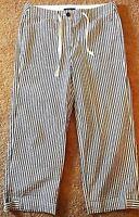 Jones New York Womens White Striped Stretch Capri Pants Cropped Cotton Pants 6
